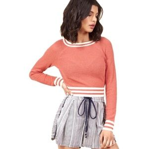 ModCloth Coral Lightweight Striped Crop Sweater